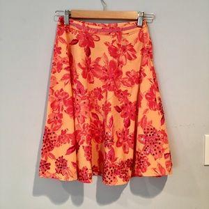 Limited Too Orange Print Skirt, size 10